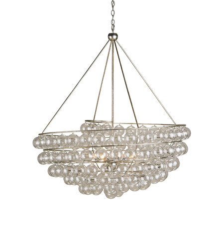 Currey & Company 9002 Stratosphere 4 Light 46 inch Contemporary Silver Leaf Chandelier Ceiling Light photo