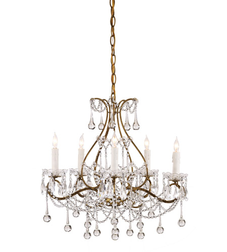 Currey & Company 9008 Paramour 5 Light 19 inch Smoke Gold Chandelier Ceiling Light photo