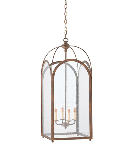 Currey & Company 9035 Loggia 4 Light 14 inch Rustic Gold Lantern Ceiling Light photo