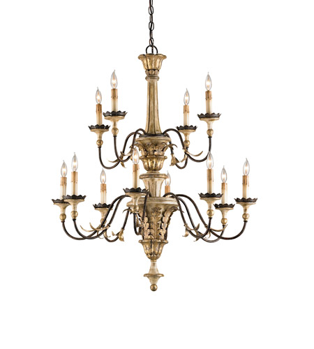 Currey & Company 9040 Adara 12 Light 33 inch Ivory Brown/ Sicilian Gold Leaf Chandelier Ceiling Light photo