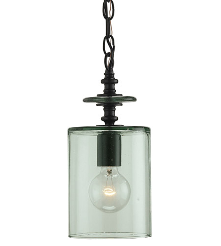 Currey & Company Panorama 1 Light Pendant in Satin Black 9060 photo