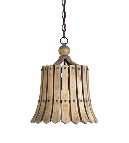 Currey & Company 9088 Fruitier 1 Light 13 inch Old Iron/Natural Ash Pendant Ceiling Light photo