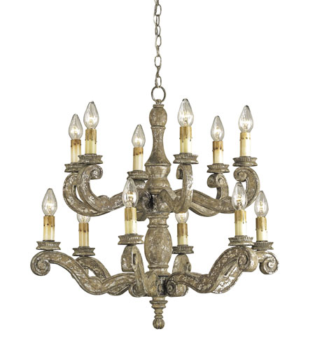 Currey & Company St. Tropez 12 Light Chandelier in Distressed Silver Leaf 9090 photo