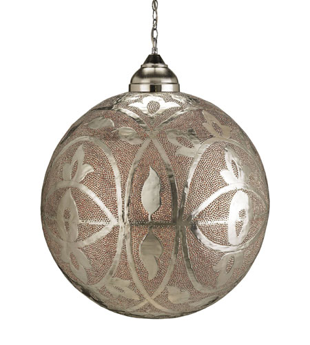 Currey & Company Sahara 1 Light Pendant in Nickel & Copper/Lacquer/Amber 9105 photo