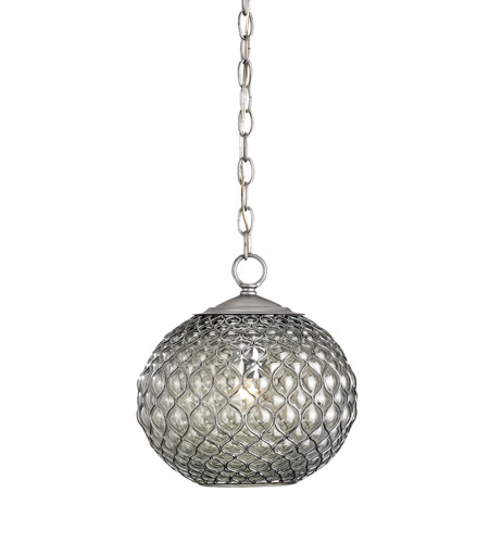 Currey & Company 9109 Pinto 1 Light 12 inch Gun Metal/Chrome Pendant Ceiling Light photo