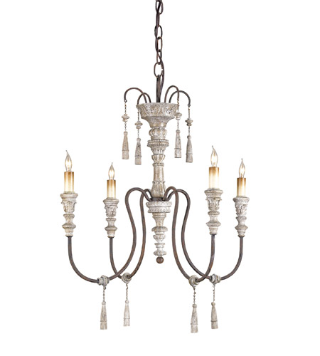 Currey & Company 9118 Hannah 4 Light 22 inch Stockholm White/Rust Chandelier Ceiling Light photo