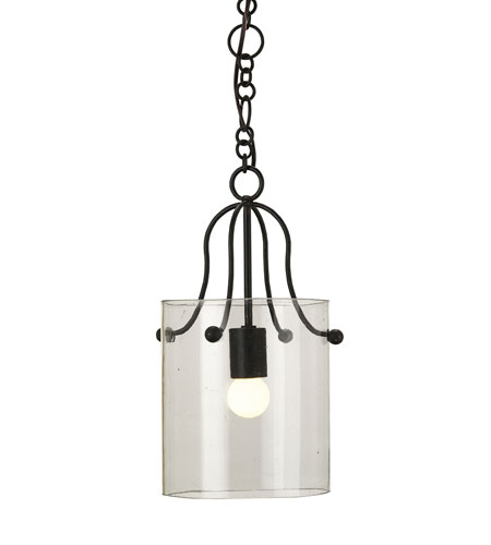 Currey & Company Hudson 1 Light Pendant in Old Iron/Recycled Glass 9121 photo