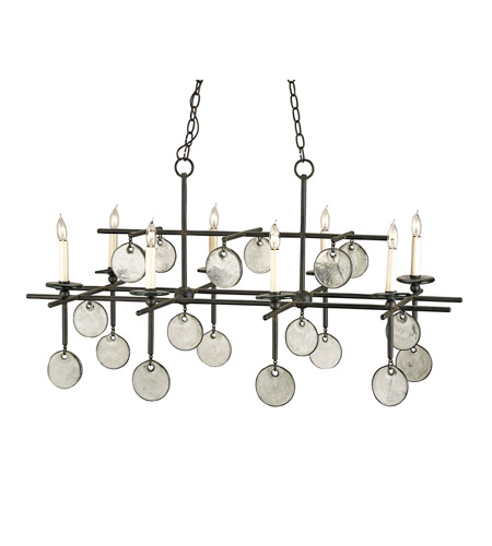 Currey & Company 9124 Sethos 8 Light 30 inch Old Iron/Recycled Glass Chandelier Ceiling Light photo