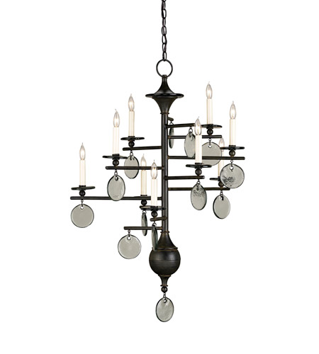 Currey & Company Sethos 9 Light Chandelier in Old Iron/Recycled Glass 9126 photo