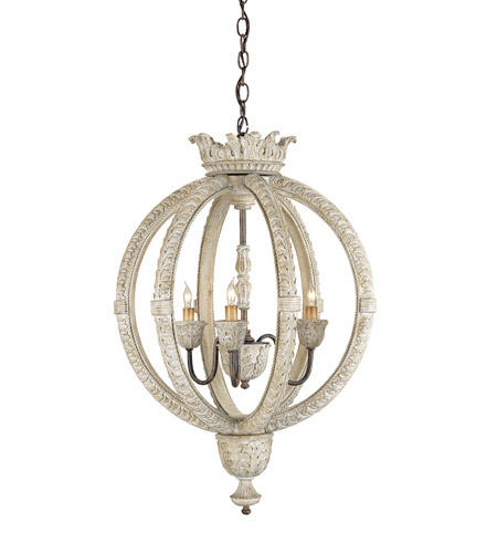 Currey & Company 9134 Dauphin 3 Light 21 inch Stockholm White/Rust Chandelier Ceiling Light photo