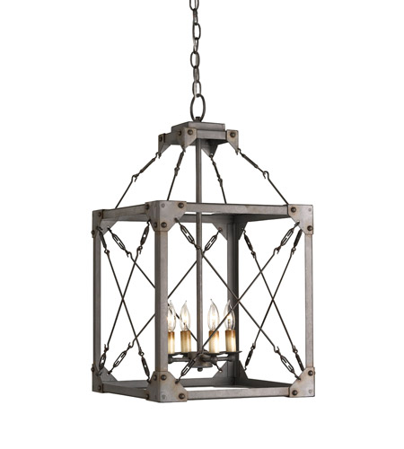 Currey & Company 9139 Salvage 4 Light 15 inch Hiroshi Gray Lantern Ceiling Light photo