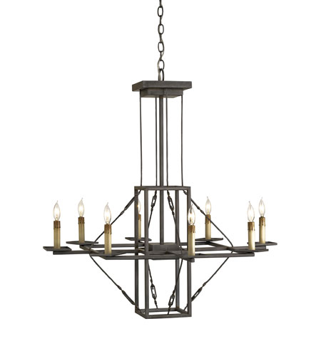 Currey & Company Basildon 8 Light Chandelier in Hiroshi Gray 9144 photo