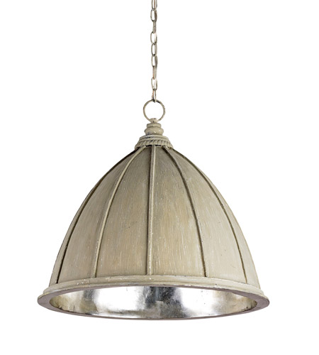 Currey & Company Fenchurch 1 Light Pendant in Oyster Cream/Silver Leaf 9149 photo