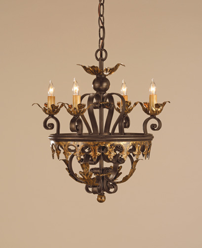 Currey & Company Castello 4 Light Chandelier in Black Bronze/Gold Leaf 9216 photo
