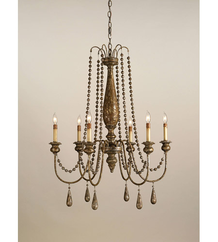 Currey & Company Eminence 6 Light Chandelier in Distressed Silver Leaf 9254 photo