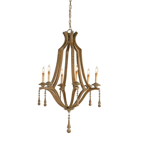 Currey & Company Simplicity 6 Light Chandelier in Washed Wood 9256 photo