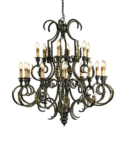 Currey & Company Sussex 18 Light Chandelier in Bronze Verdigris/Gold Leaf 9269 photo
