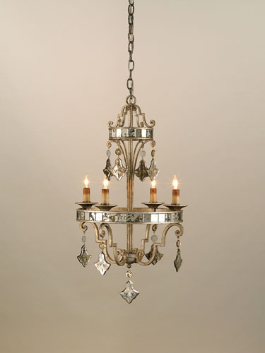 Currey & Company Kaleidoscope 4 Light Chandelier in Harlow Silver Leaf 9332 photo