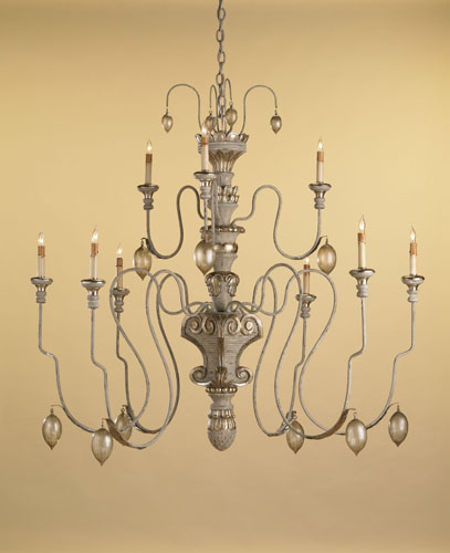 Currey & Company Rossetti 9 Light Chandelier in Provencial White 9347 photo