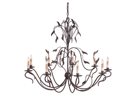 Currey & Company Arcadia 9 Light Chandelier in Hand Rubbed Bronze 9370 photo