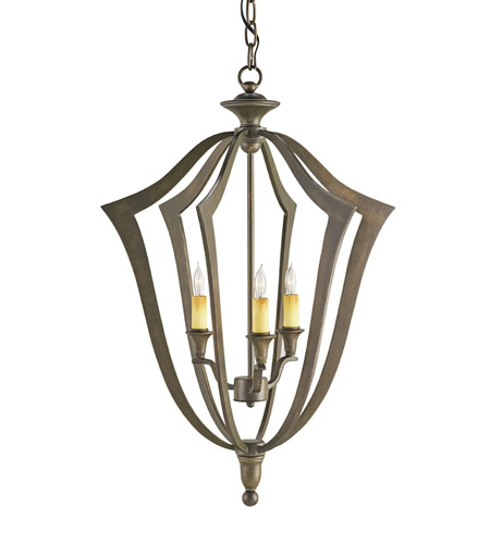 Currey & Company 9498 Protocol 3 Light 18 inch Bronze Verdigris Chandelier Ceiling Light photo