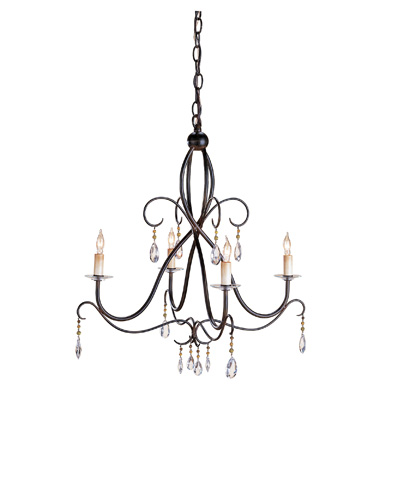Currey & Company Tula 4 Light Chandelier in Old Iron 9532 photo
