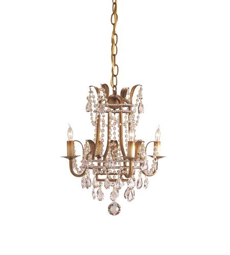 Currey & Company 9543 Laureate 4 Light 13 inch Rhine Gold Mini Chandelier Ceiling Light  photo
