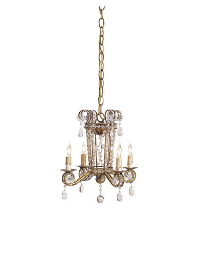 Currey & Company Serendipity 4 Light Mini Chandelier in Rhine Gold 9544 photo