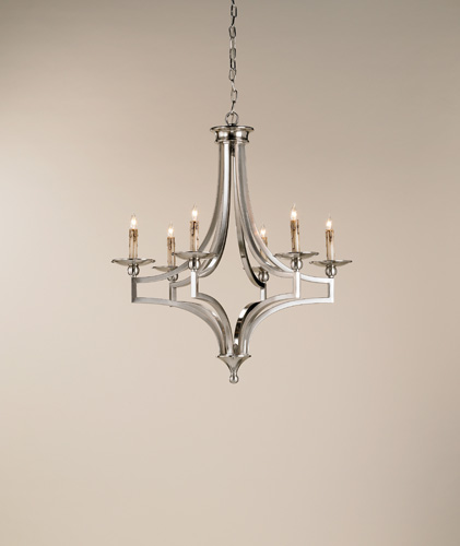 Currey & Company Nocturne 6 Light Chandelier in Nickel 9674 photo