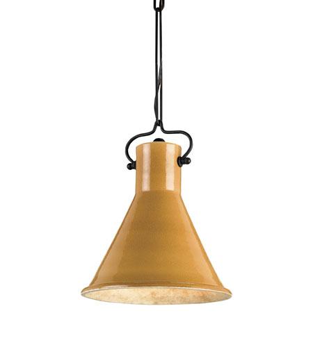 Currey & Company Rooke 1 Light Pendant in Satin Black/Mustard 9785 photo