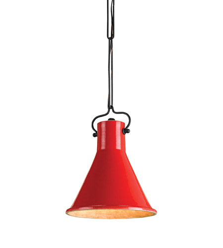 Currey & Company 9786 Rooke 1 Light 10 inch Satin Black/Red Pendant Ceiling Light photo