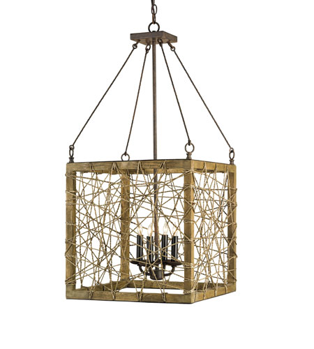 Currey & Company Entwined 4 Light Lantern in Rust/Chestnut 9788 photo