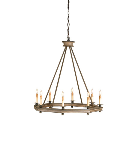 Currey & Company Bonfire 8 Light Chandelier in Antique Rust/Washed Wood 9799 photo
