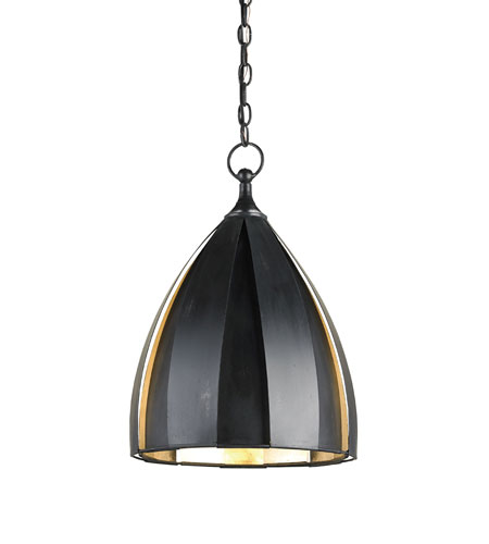 Currey & Company Patois 1 Light Pendant in London Black/Silver Leaf 9814 photo