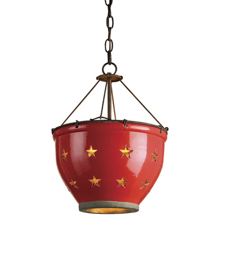 Currey & Company Star 1 Light Colander Pendant in Rust/Antique Gold/Red Crackle 9819 photo