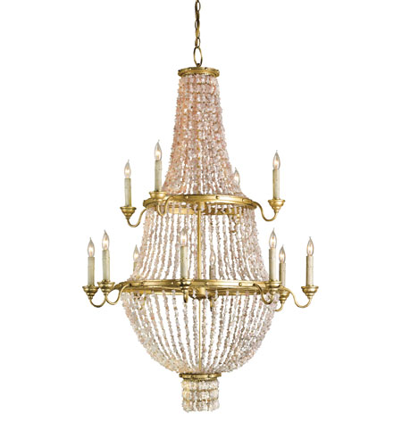 Currey & Company Loulou 12 Light Chandelier in Dutch Gold/Blush 9824 photo