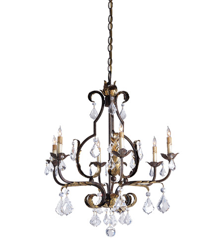 Currey & Company Tuscan 6 Light Chandelier in Venetian/Gold Leaf/Swarovski Crystal 9828 photo