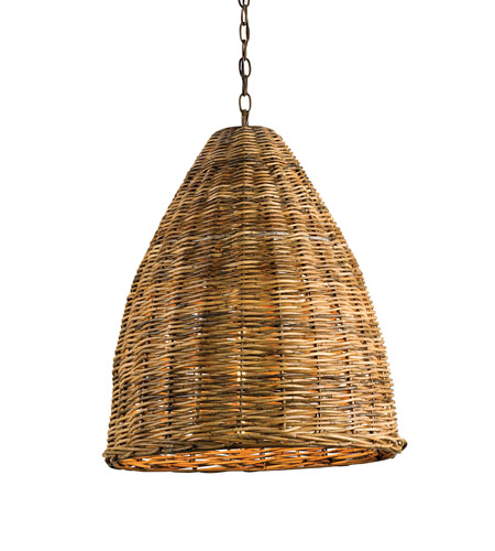 Currey & Company Basket 1 Light Pendant in Natural 9845 photo