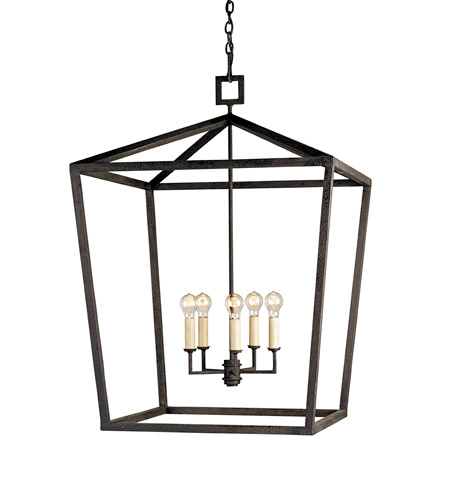 Currey & Company 9871 Denison 5 Light 32 inch Mole Black Lantern Ceiling Light photo