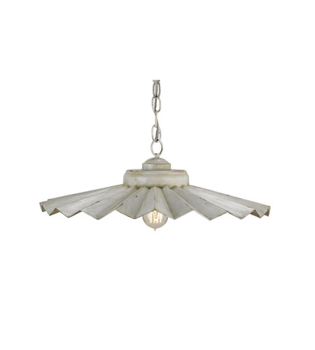Currey & Company Hadleigh 1 Light Pendant in Aged Cream/Weathered Antique Silver 9874 photo