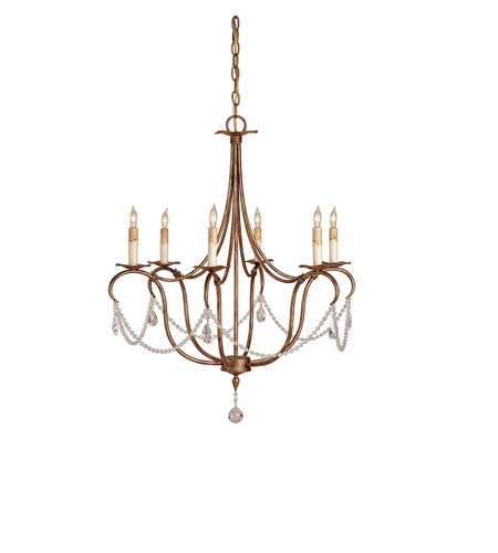 Currey & Company 9880 Crystal Light 6 Light 27 inch Rhine Gold Chandelier Ceiling Light  photo