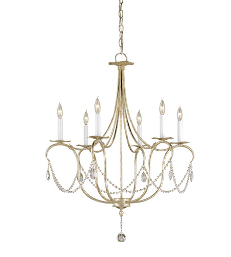Currey & Company 9890 Crystal Lights 6 Light 27 inch Silver Leaf Chandelier Ceiling Light photo