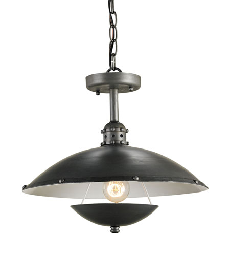 Currey & Company Bertrand 1 Light Pendant in Hiroshi Gray/Off White 9893 photo