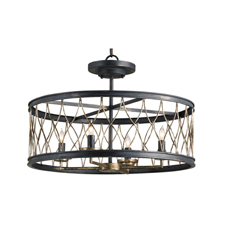 Currey & Company Crisscross 4 Light Semi-Flush Mount in French Black/Pyrite Bronze 9902 photo