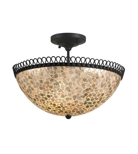 Currey & Company Edgewater 3 Light Semi-Flush Mount in Satin Black/Natural 9907 photo