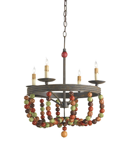 Currey & Company Rosalia 4 Light Chandelier in Old Rust/Multi-Autumn 9912 photo