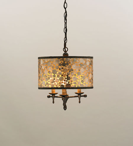 Currey & Company Peggy 3 Light Pendant in Cupertino/ Amber 9937 photo
