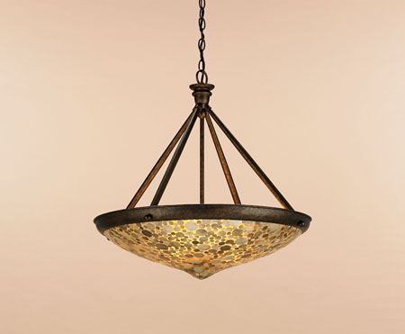 Currey & Company Edith 3 Light Pendant in Cupertino/ Amber 9938 photo