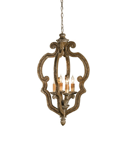 Currey & Company 9942 Chancellor 4 Light 20 inch Distressed Silver Leaf Chandelier Ceiling Light photo