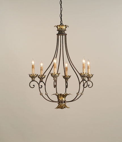 Currey & Company Romanza 6 Light Chandelier in Distressed Silver Leaf/ Gold Leaf 9947 photo